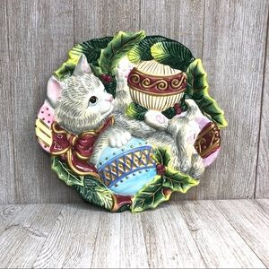 Fitz & Floyd Ceramic Festive Cat Holiday Plate